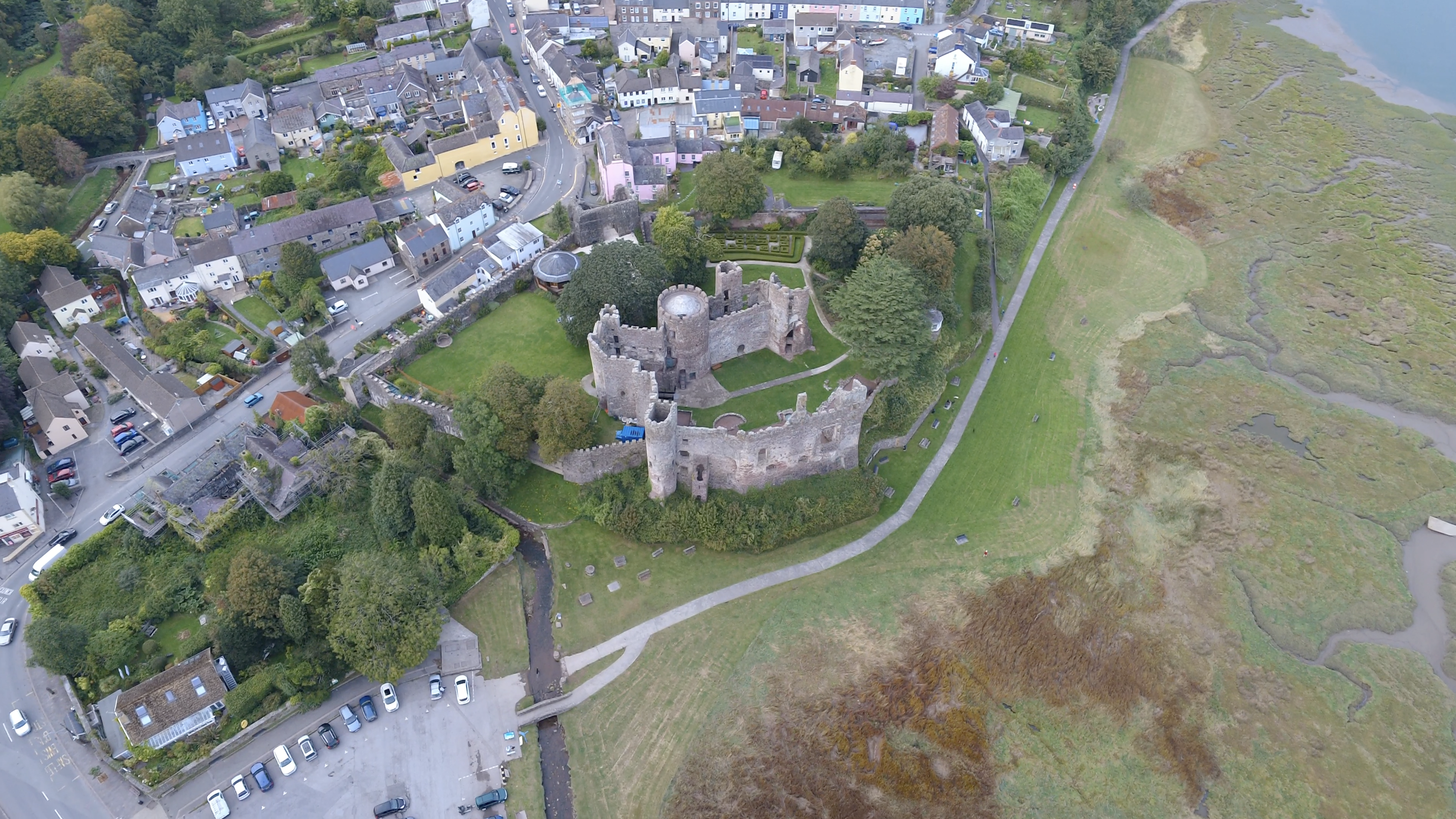 Island House & Laugharne Castle Aerial View